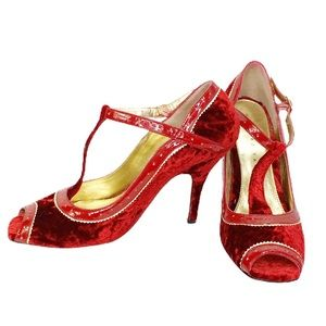 Martinez Valero Red Velvet Leather Heels Size 6.5
